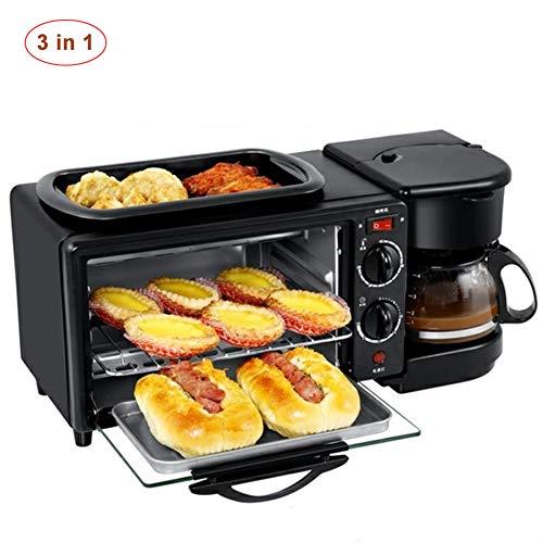 3 In 1 Frühstücksmaschine Mit 900W Backofen, Toaster Und 600W / 600Ml Kaffeemaschine. 9L Multifunktionsküchenkleingeräte, Regelbarer Thermostat Und Timer, Leicht Zu Reinigende Küchengeräte, Schwarz