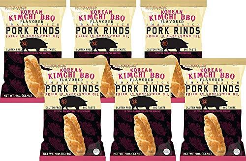 Southern Recipe Small Batch Pork Rinds | Korean Kimchi BBQ | Keto Friendly, Gluten Free, Low Carb Food | 7g of Collagen Per Serving | High Protein | 4 Oz Bag (Pack of 6)