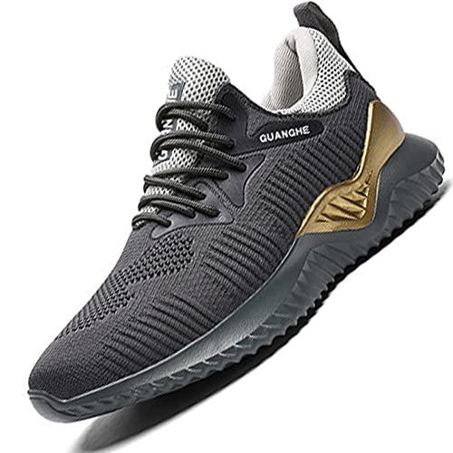 JUNCSQ Safe Working Shoes for Men, Fashion Lightweight Steel Toe Shoes, Kevlar Fiber Safety Sneaker, Breathable Deodorant, Plus Size (Color: Grey, Size: Men 4.5 Women 6)