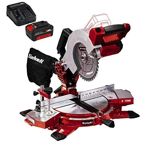 Einhell 4300890 Troncatrice Te-Ms 18/210 Li Solo, 18 V + einhell 4512042 Power-X-Change Starter Kit, Caricabatteria e Batteria da 4000 mAh Li-Ion, Nero, Rosso