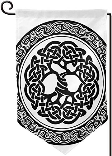 Celtic Native Celtic Tree of Life Figure Ireland Early Renaissance Artsy Modern Design Black White Double Sided Garden Flag Banner Vertical Yard Flag 12.5 X 18 Inch