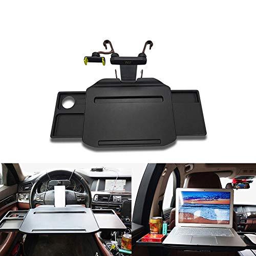 Auveach Tavolino per Auto Pieghevole Supporto per Computer Portatile o Tablet Multifunzionale per Volante e Sedile Posteriore per Viaggi Pranzi e Studi Nero