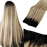LaaVoo Micro Weft Hair Extensions Human Hair Off Black Ombre Brown Balayage #60 Platinum Blonde Micro Beaded Weft Remy Hair Extensions Ombre Brown Micro Loop Hair Weft Extensions Balayage 50G 22'