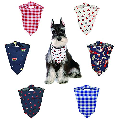 Dog Bandana-Washable and Adjustable Pet Triangle Scarf Bibs | Accessories for Small Medium Large Dogs/Cats | 6 Pcs Review