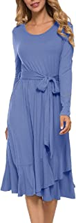 Howely Women Ruffle Long Sleeve Irregular Belted Crew-Neck Mid Dress