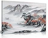 Leinwanddruck, Motiv: Japanischer Tempel im Herbst, Schwarz, Weiß, Rot, schwarz / rot / weiß, A0 91x61cm (36x24in)