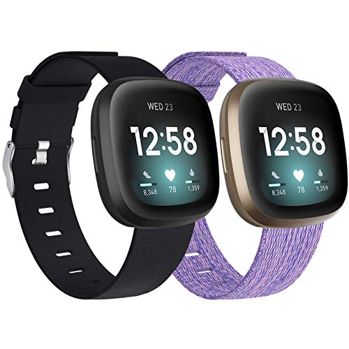 Vitty 2 Pack Bands Compatible with Fitbit Versa 3 /Sense for Women and Men, Breathable Woven Fabric Bands Replacement Wristband for Fitbit Versa 3 / Sense Smart Watch