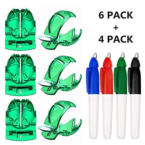 Dadabig 6 Stück Golf Alignment Tool, Golf Ball Liner Marker Golfball Strichzeichnung Golfball Ausrichtungswerkzeug Liner Kugelmarkierung Clips für grafische Markierungen Linie mit 4 Golf Marker (Grün)