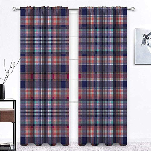 Checkered Blackout Curtain Pink and Blue Colored Repeating Pattern with Intersecting Lines and Squares for Dining Patio Sliding Glass Door Window Decor Navy Blue Pink - 36' x 96' , 2 Rod Pocket Panels