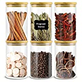 Large Glass Jars with Bamboo Lids Set for Kitchen Refrigerator 27oz...