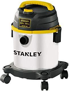 Stanley Wet/Dry Vacuum SL18136, 3 Gallon 4 Horsepower Stainless Steel Tank with 15 FT Clean Range, Home/Garage/Workshop/Vehicle Vacuum Blower with Multiple Accessories