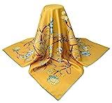 Corciova 35 x 35 Square Real Silk Twill Women Hair Wraps Head Scarfs 14 Momme Naples Yellow Flowers