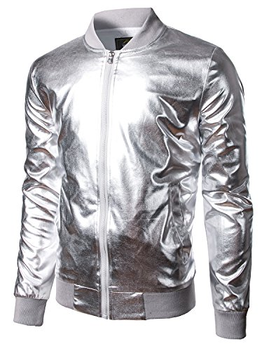 JOGAL Men's Metallic Party Costume Varsity Bomber Jacket Medium Silver