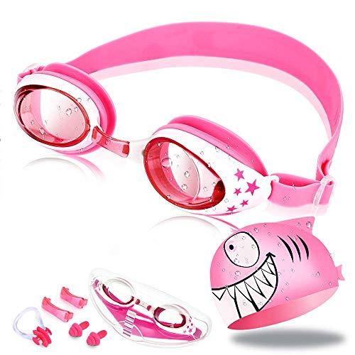 OTraki Schwimmbrille Kinder Taucherbrille Kinder Schwimmbrillen Set mit Antibeschlag und UV Schutz Swimming Goggles mit Badekappe Ohrstöpsel Nasenclip und Austauschbarem Nasensteg Pink