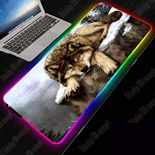 ZETIAN Luminous RGB Led-leuchten Desktop Gaming Maus Pad Kissen Computer ZubehörMauspad Notebook Pad-Wolf_250x350x4MM