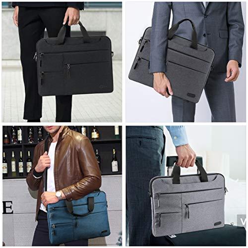 NUBILY Laptoptasche Herren Aktentasche Schultertasche 15.6 Zoll Business Arbeitstasche Notebooktasche wasserdichte Groß Umhängetasche Frauen/Männer Schwarz