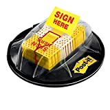 Post-it Flags, Sign Here, 200/High Volume Desk Grip Dispenser, 1 in Wide, Yellow (680-HVSH)