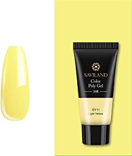 SAVILAND 30ml Color Polygel Neon Colors Fast Building Poly Gel UV Hard Builder Poly Gel Nail Polish for Nails (30ml_SY11_Light Yellow)