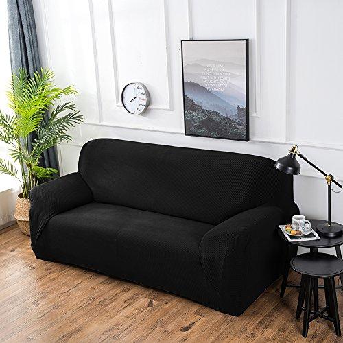 ishine - Funda de sofá elástica con Varias Medidas y Colores, algodón, Negro, 1 Sitzer für Sofalänge 80x110cm