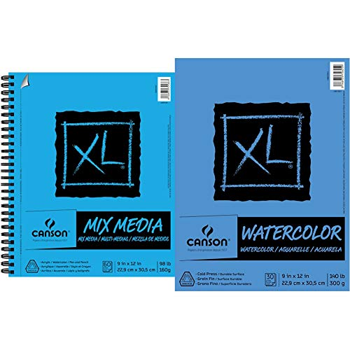 Canson 100510927 XL Series Mix Paper Pad, 98 Pound, 9 x 12 Inch, 60 Sheets, 1-Pack & 100510941 XL Series Watercolor Pad, 1 Pack, Multicolor