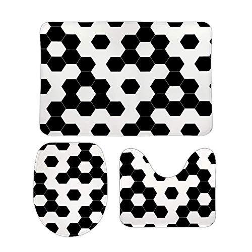 Juego de alfombras de baño RedBeans antideslizantes de 3 piezas de franela para baño, diseño de hexágonos a cuadros con pedestal suave antideslizante para la ducha, alfombra del inodoro