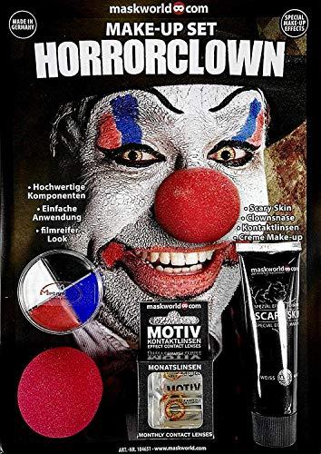 Hochwertiges Halloween Schminke Komplett-Set Horror Clown mit perfekt abgestimmten Komponenten - Make-Up - Clownsnase - Scary Skin - Kontaktlinsen
