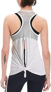 Zcavy Cute Mesh Yoga Tank Racerback Muscle Shirts Open Back Running Tank Tops for Women Workout