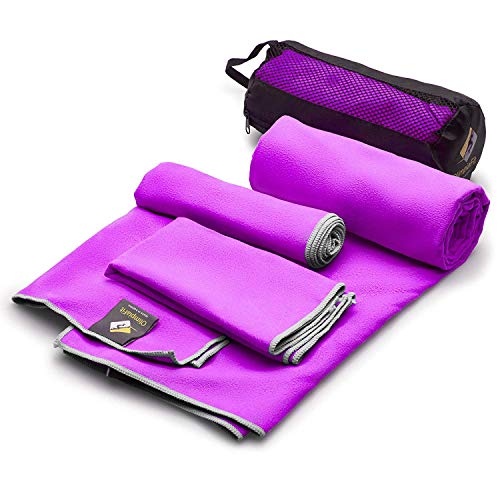Set of 3 Microfiber Towels - Best For Gym Travel Camp Beach Backpacking Sports Outdoor Swim - Quick Dry Fast · Absorbent · Antimicrobial · Compact · Lightweight Men Women Gift Toiletry Bag (Purple)