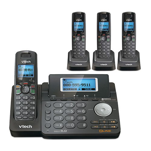 VTech DS6151-11 DECT 6.0 2-Line Expandable Cordless Phone + (3) DS6101-11 Accessory Handset, Black
