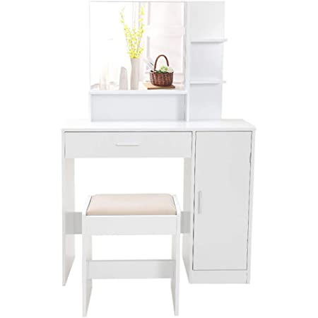 HOMCOM Dressing Table Set with Flip Top Mirror and Cushioned Stool White Makeup Vanity Table Dresser Desk with Drawer and Storage Grids for Bedroom