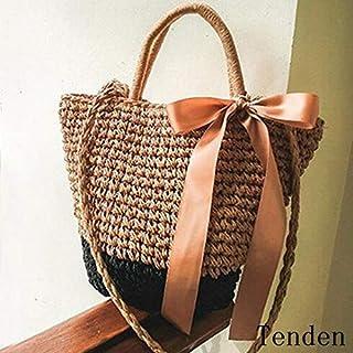 ショルダーバッグ レディース ハンドバッグ 手持ち ミニバッグ 春夏 旅行用 草編み 2WAY リボン 通勤 4色 可愛い 斜めがけ