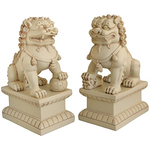 Cultural Element Asian Foo Dogs Garden Pair Statue with Stone Finish   Pair of Two Guardian Lions   Garden Decor   Indoor Outdoor Placement   Show Piece   Feng Shui Decor