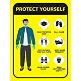 WALLSTICKS Self Adhesive Corona Virus Safety Prevention Protect Yourself Poster for Office, School