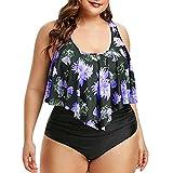 Aiserkly - Conjunto de Bikini de Dos Piezas para Mujer, con Parte Superior rizada y Parte Inferior Entallada Y-b-Lila XL
