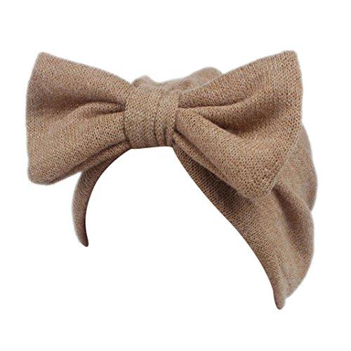K-youth® Bowknot diadema elástica venda Turbante Sombrero que hace punto de los bebés de las muchachas Sombrero gorro de la gorra del abrigo de la cabeza del turbante de Beanie
