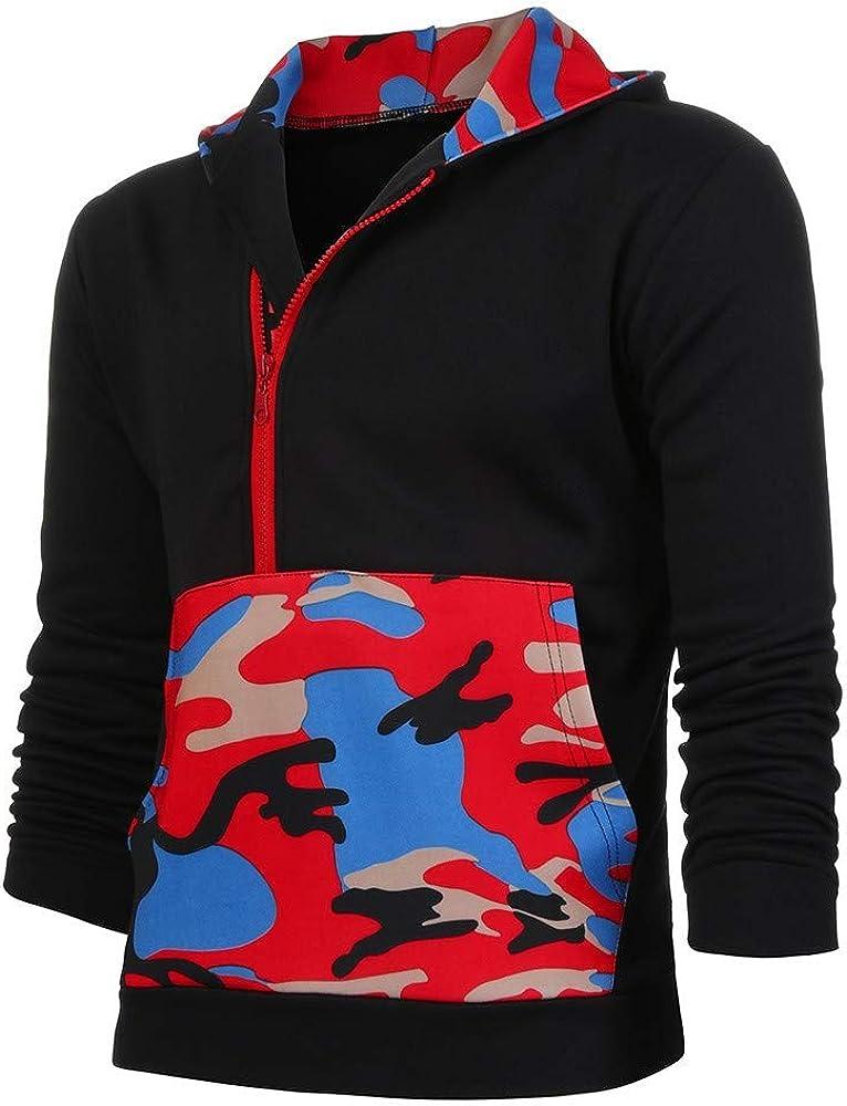 MODOQO Men's Pullover Hoodies Long Sleeve Casual Zipper Collar Lightweight Sweatshirt