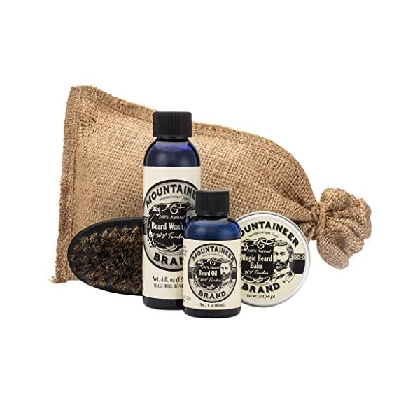 Beard Grooming Care Kit for Men by Mountaineer Brand   Beard Oil (2oz), Conditioning Balm (2oz), Wash (4oz), Brush… 1