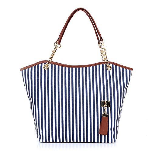 Stripe One Shoulder Slant Straddle Bag Large Capacity Women's Handbag Stripe Canvas Bag