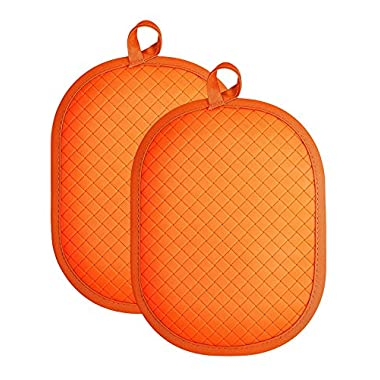 Rachael Ray Silicone Potholder/Trivet with Silicone Grip, Use as a Potholder to Protect Yourself or a Trivet to Protect Your Countertops, protects up to 500 degrees F- Orange (2pk)
