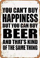 ブリキ看板あなたは幸せを購入することはできませんが、ビール購入することができますグッズウォールアートを