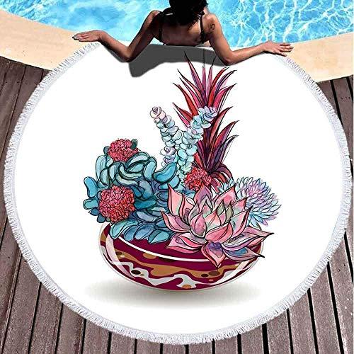 Toallas de playa redondas para niños, suculentas en cristal de color arena con composiciones de flores gráficas acuarela de 152 x 152 cm, toalla de playa grande redonda para niños, mujeres y niños