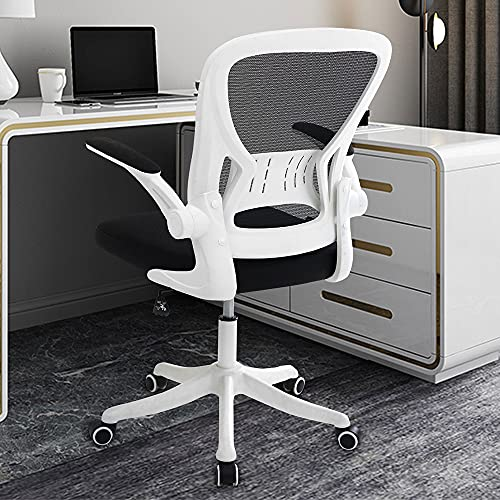 COOIENT Desk Office Task Chair Ergonomic Mid Back Mesh Chair with Flip-up Arms and Adjustable Height White