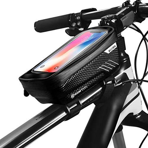 YangQian Vélo Sac Homme 6.2inch Vélo Sac De Vélo Imperméable Imperméable Imperméable MTB Sac Avant Téléphone Mobile Case Cyclisme Top Tube Bag Accessoires De Vélo