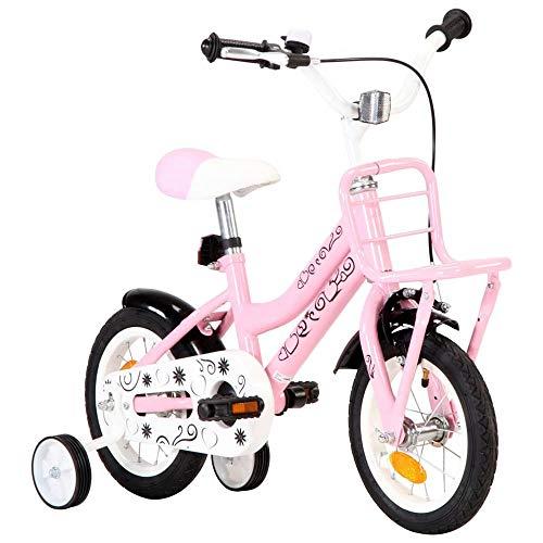 Carsparadisezone Kinderfahrrad Mädchenfahrrad 12 Zoll Kinderrad mit Stützrädern, Puppensitz und Fahrradkorb Kinder Fahrrad Rosa Mädchen