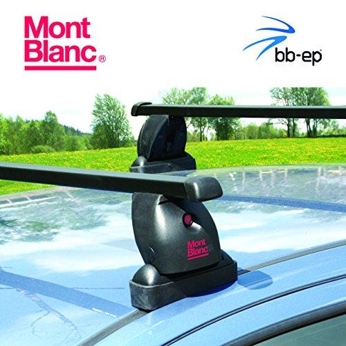 Exklusiver MontBlanc Stahl Dachträger/Lastenträger 91506563 für Hyundai I40-5 Türer Kombi mit Fixpunkten im Dach - Komplettes Dachträgersystem inkl. Schloss und Schlüssel