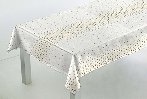 Confección Saymi Mantel Antimanchas loneta resinada Ref. Navidad Cenefa Blanca Estrella Oro, Medida 138x200