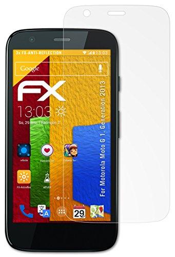 atFolix Panzerfolie kompatibel mit Motorola Moto G 1. Generation 2013 Schutzfolie, entspiegelnde & stoßdämpfende FX Folie (3X)