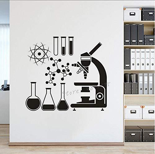 MUXIAND Wetenschap Ontdek Vinyl Muursticker Klas Laboratorium School Microscoop Muursticker Chemie Atom Muurschilderingen 57x52cm