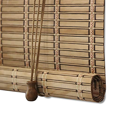 ZY Blinds Bamboo Window Blinds, Light Filtering Roll Up Blinds with Valance, 76' W x 60' L, Pattern 5