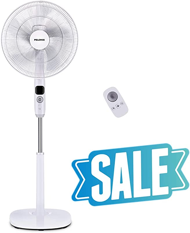 PELONIS Oscillating Pedestal Turbo Silence Stand Fan 16 Powerful And Quiet With DC Motor Speed 12 Hour On Off Timer 3 Silent Modes Remote Control FS40 16CR White